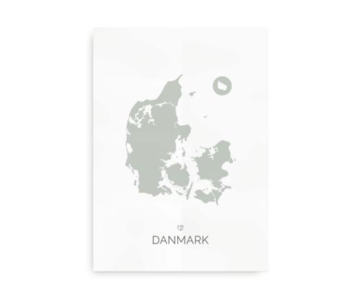 Plakat med Danmarkskort - støvet grøn