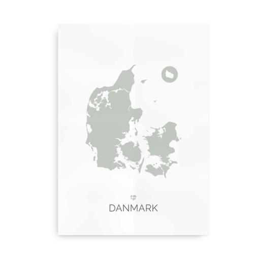 Danmarkskort støvet grøn