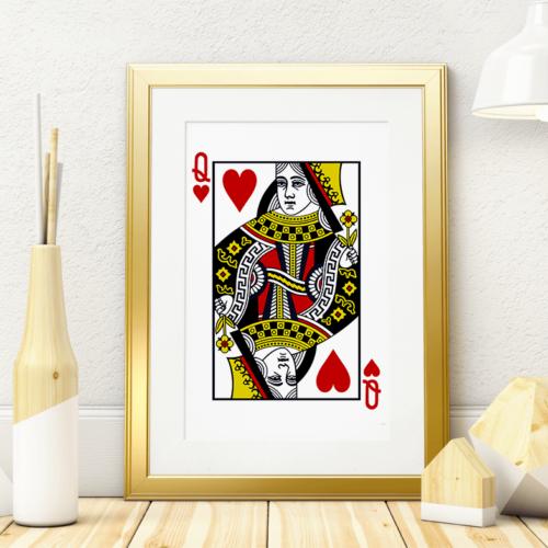 Plakat med Hjerter Dame spillekort