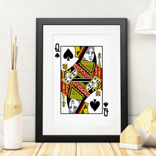 Plakat med Spar Dame spillekort
