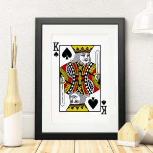 Plakat med Spar Konge spillekort