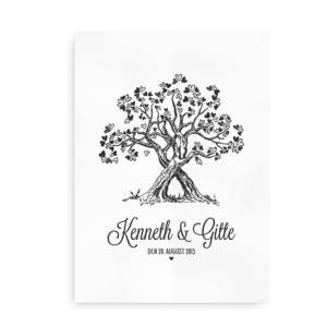 Plakat til brudeparret - gaveidé - med navne og vielsesdato