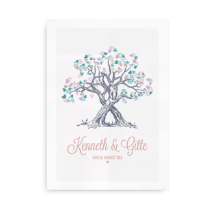 Hjertetræ - plakat til bryllupsgave