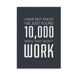 "Plakat med Thomas Edison citat - ""10.000 ways that won't work"""
