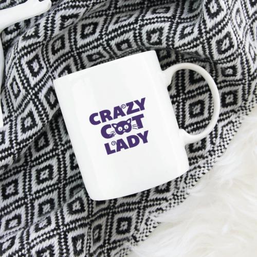 "Krus med teksten ""Crazy Cat lady"""