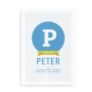 """Retro Monogram"" fødselstavle i lyseblå til børn"