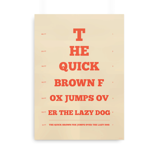 """Synstavlen til designere med teksten """"The quick brown fox jumps over the lazy dog"""""""