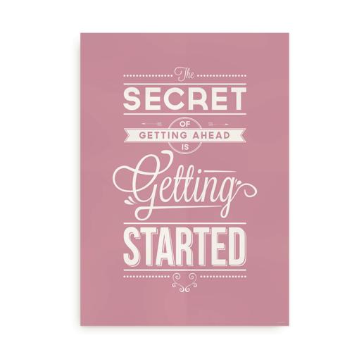 """""""The secret of getting ahead"""" plakat til iværksætteren"""