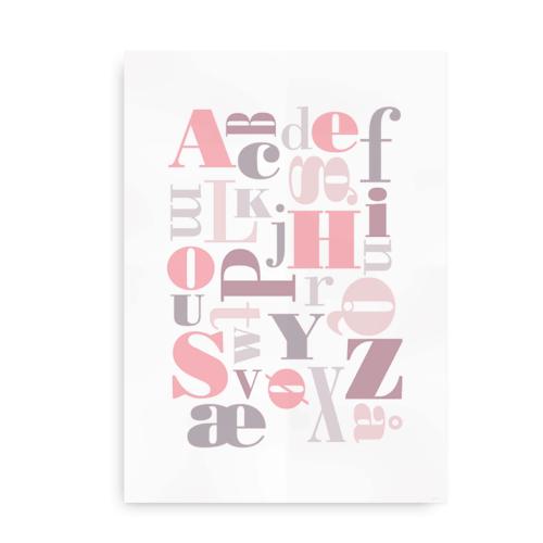 Upside down letters - plakat med alfabet til piger