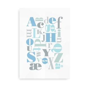 Upside down letters - plakat med alfabet til drenge