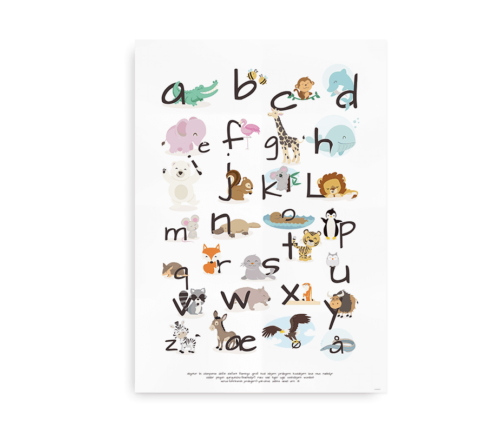 ABC plakat med det danske alfabet og flotte tegninger af alverdens dyr
