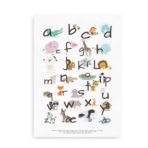Plakat med alfabet og dyr