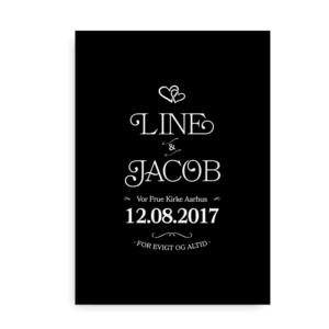Bryllupsplakat med hjerter - hvid på sort baggrund