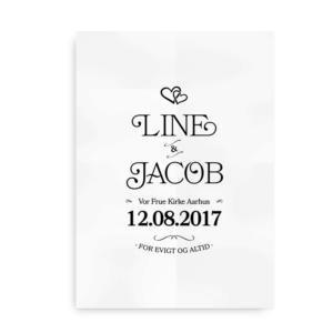 Bryllupsplakat med hjerter - sort på hvid baggrund