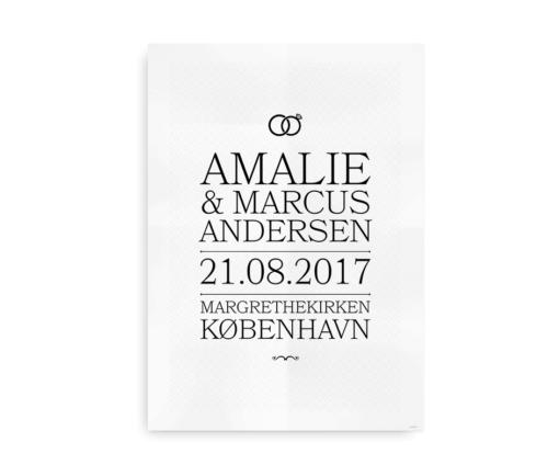 Plakat til bryllup - anderledes gaveidé med brudeparrets navne