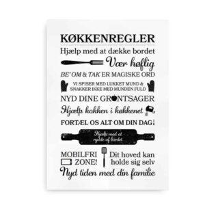 """Plakat til køkkenet med sort tekst på hvid baggrund med """"Køkkenregler"""""""