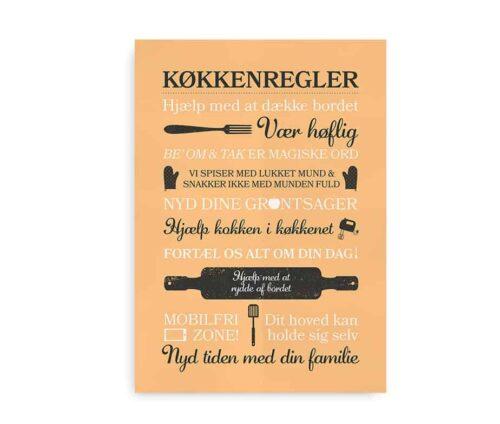"Plakat til køkkenet i orange med citater - ""Køkkenregler"""