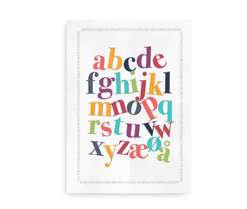 Plakat med det danske alfabet i friske farver - ABC plakat