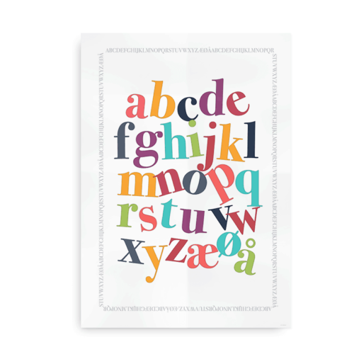Plakat med det danske alfabet i friske farver
