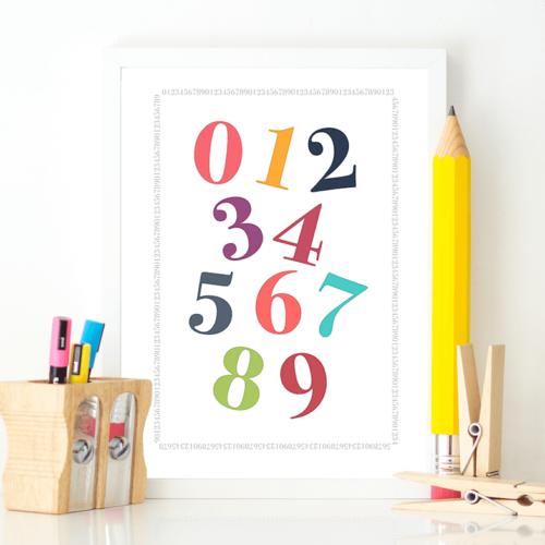 Frisk talplakat - plakat med tal til skolebørn