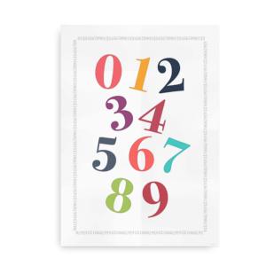 Plakat med tal i friske farver - Talplakat