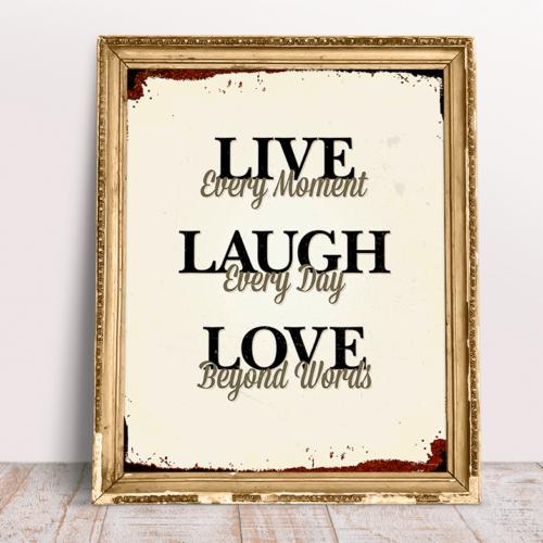 Live Laugh Love retro plakat