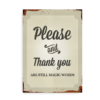 Please and Thank You - plakat med emaljeskilt-look
