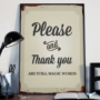 Please and Thank You - retro vintage plakat
