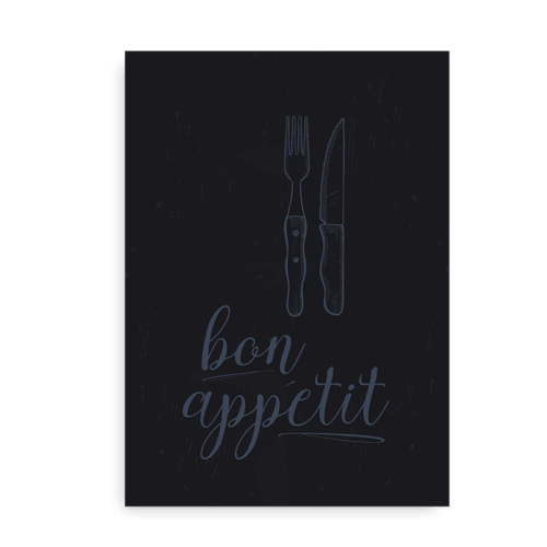 Bon Appetit - plakat blå på mørkeblå baggrund