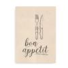 Plakat til køkken med teksten Bon Appetit - brun på beige baggrund