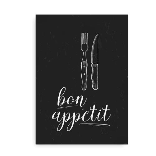 Bon Appetit - køkken plakat hvid på sort baggrund