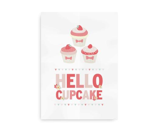Hello Cupcake - Plakat med tekst og cupcakes