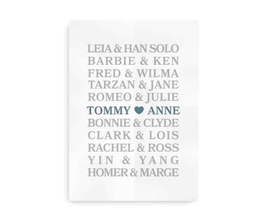 Big Love - bryllupsplakat med navne - petroleum