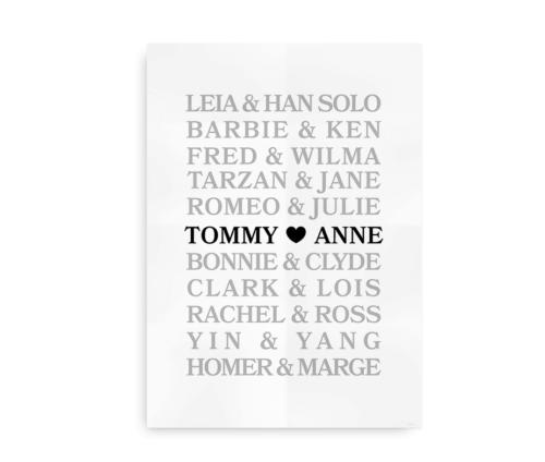 Big Love - bryllupsplakat med navne - sort