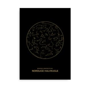 konstellationer nordlige halvkugle plakat - guld