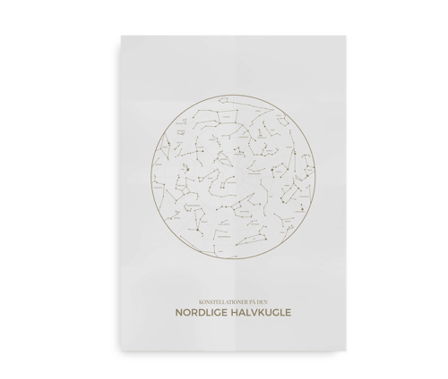 konstellationer nordlige halvkugle plakat - lys grå
