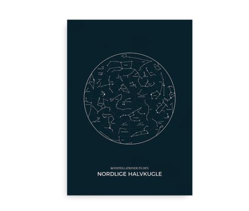 konstellationer nordlige halvkugle plakat - midnat blå