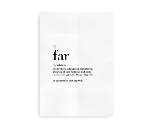 Far dansk definition betydning citat plakat