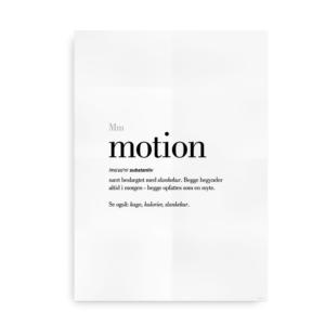Motion dansk definition betydning citat plakat