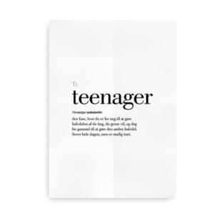 Teenager dansk definition betydning citat plakat