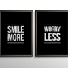 Smile More, Worry Less - sort citatplakat