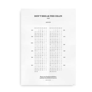 Dont break the chain - kalender 2020 plakat