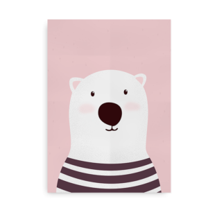 Isbjørn - Plakat med isbjørn til drenge og piger_lyserød