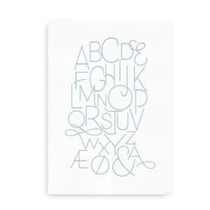 Moderne alfabetplakat - blå