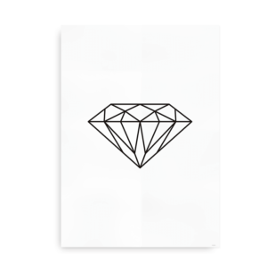 Shine Bright - plakat med diamant - sort