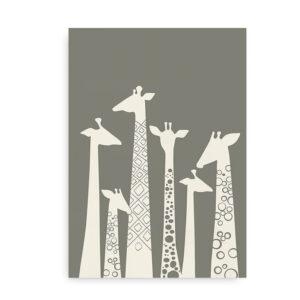Plakat med giraffer - grå