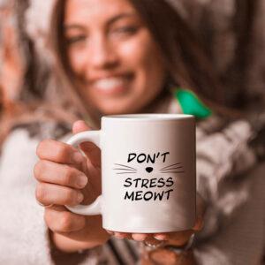 Don't Stress Meowt - krus med kat