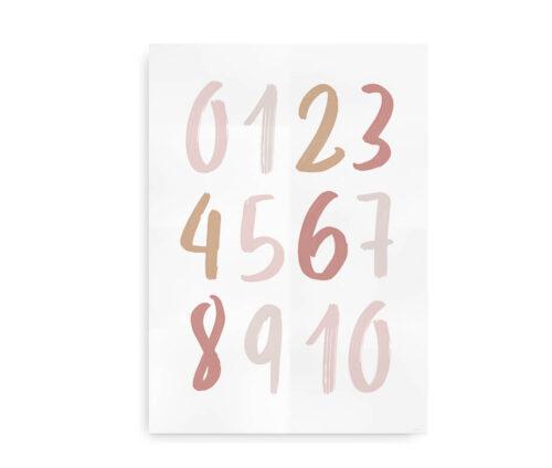 Numbers Ink- talplakat i neutrale farver