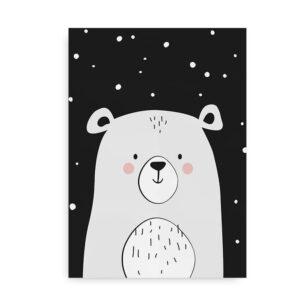 Polar Bear- plakat med isbjørn - sort