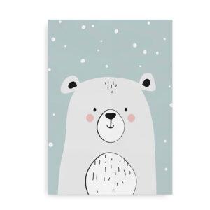 Polar Bear- plakat med isbjørn - turkis
